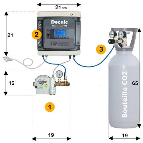 Adoucisseur au CO2 dimension Kit de montage et Installation