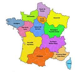 carte des régions de France avec l'ARS qualité de l'eau calcaire et PH